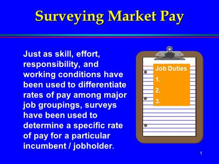 1 Surveying Market Pay Just as skill, effort, responsibility, and working conditions have been used to differentiate rates of pay among major job groupings,
