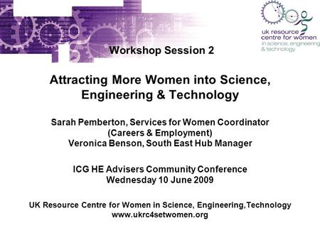 Workshop Session 2 Attracting More Women into Science, Engineering & Technology Sarah Pemberton, Services for Women Coordinator (Careers & Employment)