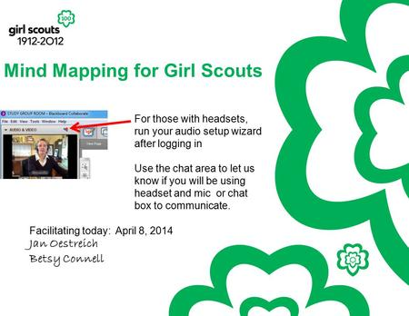 Mind Mapping for Girl Scouts Facilitating today: April 8, 2014 Jan Oestreich Betsy Connell For those with headsets, run your audio setup wizard after logging.