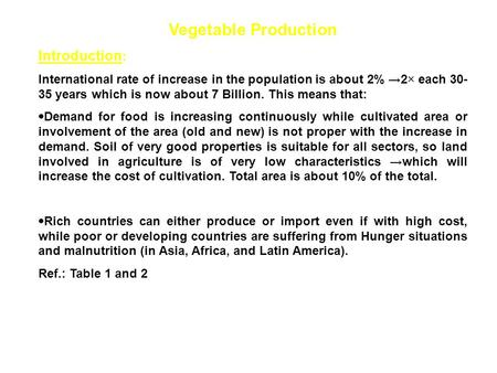 Vegetable Production Introduction: