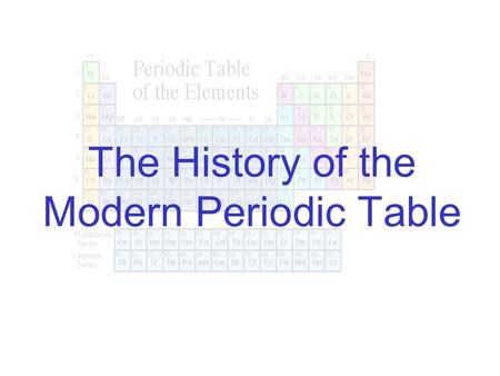 The History of the Modern Periodic Table. 19th century: Chemists began to categorize the elements Used: Similarities in their properties, both physical.