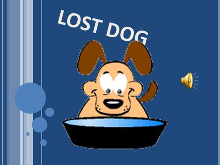 LOST DOG FIRST PART Once upon a time there was a dog called Caramel.