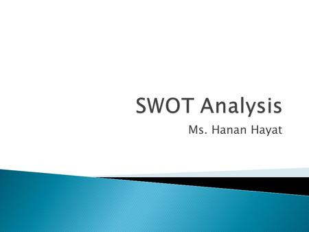 Ms. Hanan Hayat. Environmental Scan /\ Internal Analysis External Analysis / \ Strengths Weaknesses Opportunities Threats | SWOT Matrix.