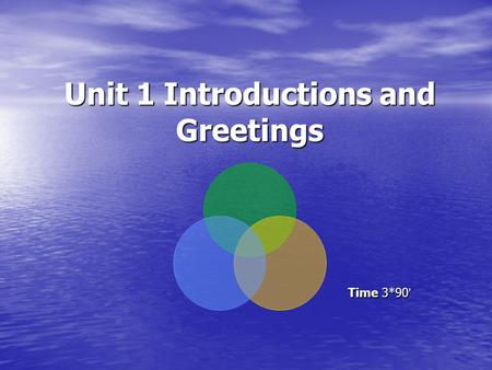Unit 1 Introductions and Greetings Time 3*90 ' Time 3*90 '