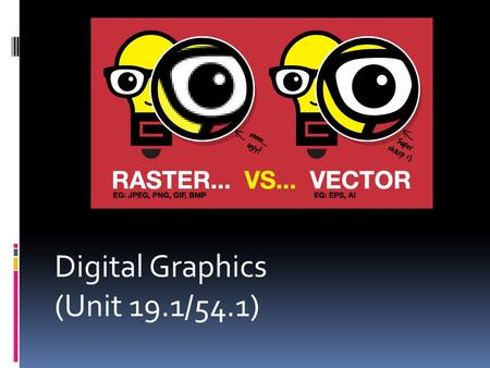 Digital Graphics (Unit 19.1/54.1). Introduction  In digital media, there are different types of graphic files and formats we use in everyday life! Today.