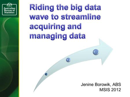 Jenine Borowik, ABS MSIS 2012. Increasing cost & difficulty of acquiring data New competitors & changing expectations Rapid changes in the environment.