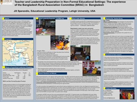 Teacher and Leadership Preparation in Non-Formal Educational Settings: The experience of the Bangladesh Rural Association Committee (BRAC) in Bangladesh.