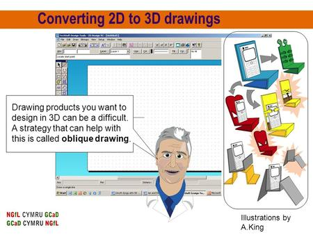 Converting 2D to 3D drawings Drawing products you want to design in 3D can be a difficult. A strategy that can help with this is called oblique drawing.