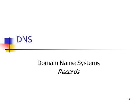 DNS Domain Name Systems Records 1. TYPES OF DNS RECORDS 2.