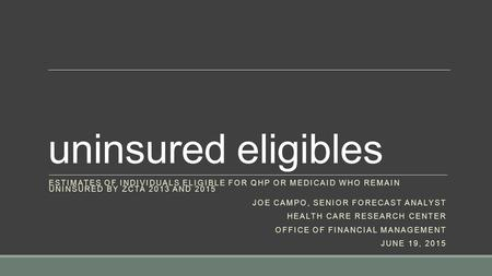 Uninsured eligibles ESTIMATES OF INDIVIDUALS ELIGIBLE FOR QHP OR MEDICAID WHO REMAIN UNINSURED BY ZCTA 2013 AND 2015 JOE CAMPO, SENIOR FORECAST ANALYST.