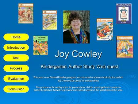 Joy Cowley Kindergarten Author Study Web quest