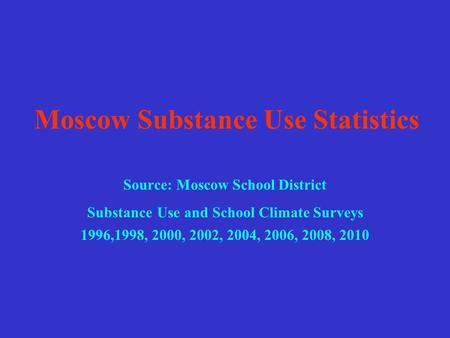 Moscow Substance Use Statistics Source: Moscow School District Substance Use and School Climate Surveys 1996,1998, 2000, 2002, 2004, 2006, 2008, 2010.