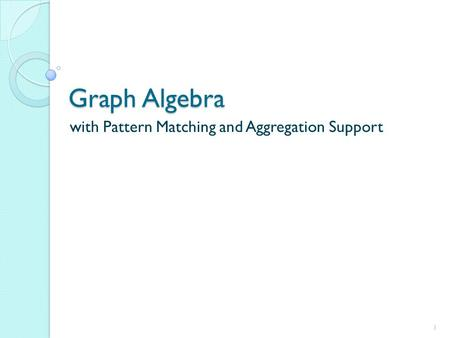 Graph Algebra with Pattern Matching and Aggregation Support 1.