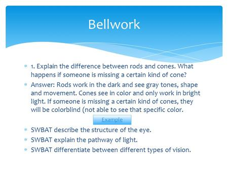 Bellwork 1. Explain the difference between rods and cones. What happens if someone is missing a certain kind of cone? Answer: Rods work in the dark and.