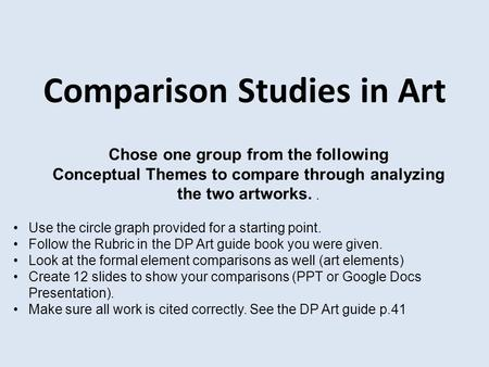 Comparison Studies in Art Chose one group from the following Conceptual Themes to compare through analyzing the two artworks.. Use the circle graph provided.