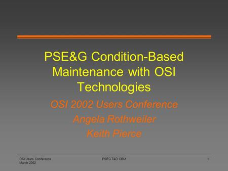 PSE&G Condition-Based Maintenance with OSI Technologies