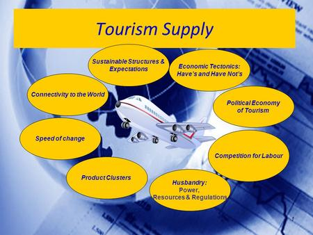 1 Tourism Supply Political Economy of Tourism Economic Tectonics: Have's and Have Not's Product Clusters Husbandry: Power, Resources & Regulations Connectivity.