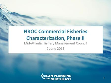 NROC Commercial Fisheries Characterization, Phase II Mid-Atlantic Fishery Management Council 9 June 2015 1.