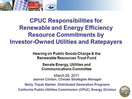 1 CPUC Responsibilities for Renewable and Energy Efficiency Resource Commitments by Investor-Owned Utilities and Ratepayers Hearing on Public Goods Charge.