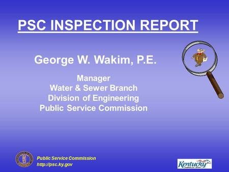 PSC INSPECTION REPORT George W. Wakim, P.E.