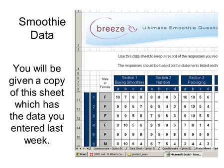 Smoothie Data You will be given a copy of this sheet which has the data you entered last week.