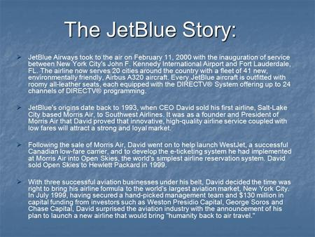Jet Blue case study SlideShare