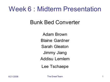 The Great Team1 Week 6 : Midterm Presentation Bunk Bed Converter Adam Brown Blaine Gardner Sarah Gleaton Jimmy Jiang Addisu Lemlem Lee Tschaepe 6/21/2006.