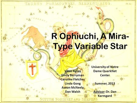 R Ophiuchi, A Mira- Type Variable Star Vikas Agtey Emily Berryman Caroline Fletcher Linda Gong Aaron McNeely Dan Walsh University of Notre Dame QuarkNet.