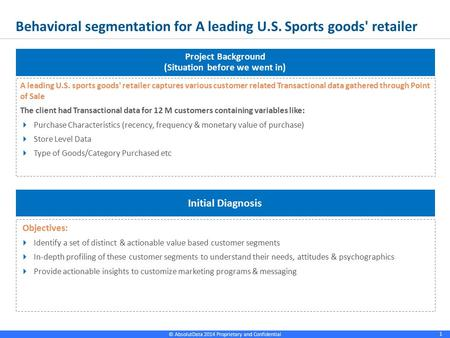 © AbsolutData 2014 Proprietary and Confidential 1 Behavioral segmentation for A leading U.S. Sports goods' retailer 1 A leading U.S. sports goods' retailer.