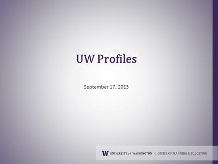 UW Profiles September 17, 2013.  Purpose  Genesis  Content  Access  Future INTRODUCTION 2.