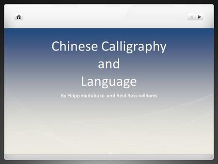 Chinese Calligraphy and Language By Filipp madubuko and Reid Ross-williams.