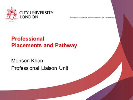 Academic excellence for business and the professions Professional Placements and Pathway Mohson Khan Professional Liaison Unit.