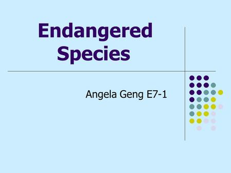 Endangered Species Angela Geng E7-1. What is an Endangered Species? An Endangered species is a species of organisms that are in danger of becoming extinct.
