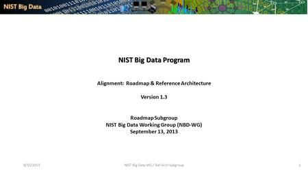 8/15/2013NIST Big Data WG / Ref Arch Subgroup1 NIST Big Data Program Alignment: Roadmap & Reference Architecture Version 1.3 Roadmap Subgroup NIST Big.
