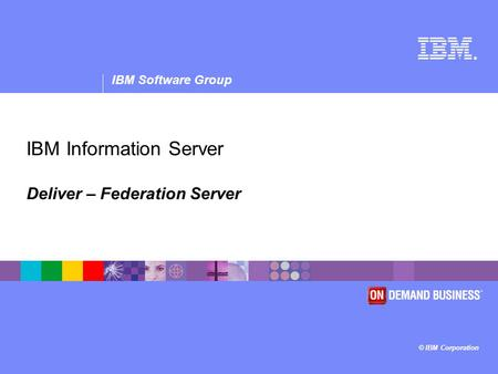 ® IBM Software Group © IBM Corporation IBM Information Server Deliver – Federation Server.