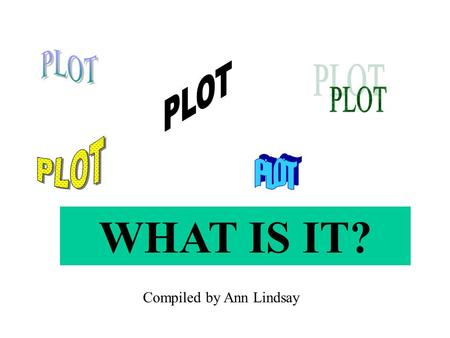 WHAT IS IT? Compiled by Ann Lindsay. ELEMENTS OF PLOT CONFLICT RISING ACTION CLIMAX FALLING ACTION RESOLUTION.
