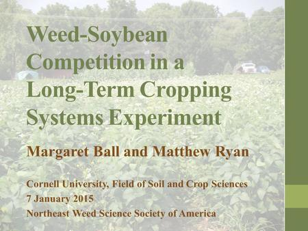 Weed-Soybean Competition in a Long-Term Cropping Systems Experiment Margaret Ball and Matthew Ryan Cornell University, Field of Soil and Crop Sciences.