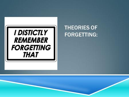 THEORIES OF FORGETTING:. NONSENSE WORDS – SEE HOW MANY YOU RECALL IMMEDIATELY, THEN IN 20 MINUTES  1. BIC  2. RAK  3. KIB  4. DOS  5. FOK  6. BAS.