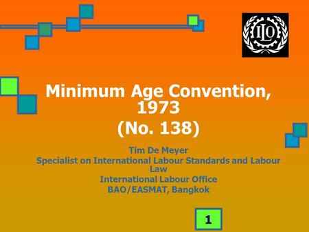 1 Minimum Age Convention, 1973 (No. 138) Tim De Meyer Specialist on International <strong>Labour</strong> Standards and <strong>Labour</strong> Law International <strong>Labour</strong> Office BAO/EASMAT,