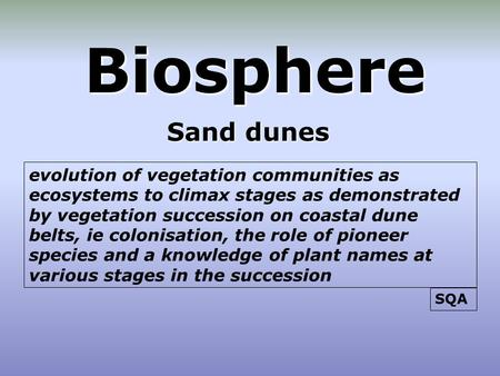 Biosphere Sand dunes evolution of vegetation communities as ecosystems to climax stages as demonstrated by vegetation succession on coastal dune belts,