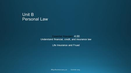 Essential Standard 4.00 Understand financial, credit, and insurance law Life Insurance and Fruad BB30 Business Law 4.02Summer 2013.
