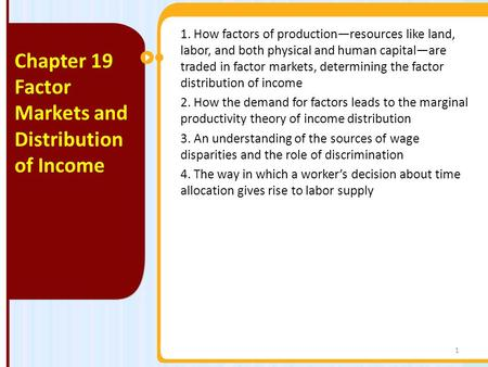 Factor Markets and Distribution of Income