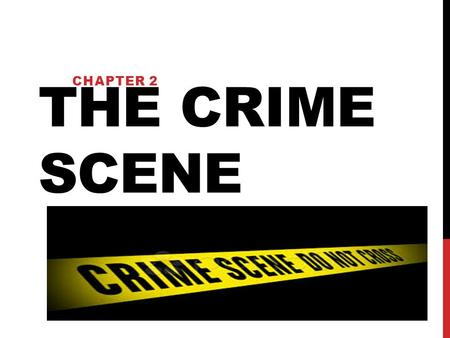 Chapter 2 THE CRIME SCENE.
