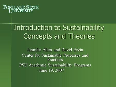 Introduction to Sustainability Concepts and Theories