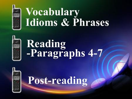 Vocabulary Idioms & Phrases Reading -Paragraphs 4-7 Post-reading.