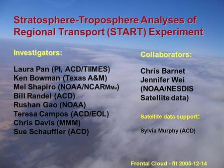 Stratosphere-Troposphere Analyses of Regional Transport (START) Experiment Investigators: Laura Pan (PI, ACD/TIIMES) Ken Bowman (Texas A&M) Mel Shapiro.
