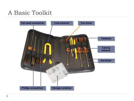 A Basic Toolkit 3-prong retriever Nut driver Phillips screwdriver Storage container Tweezers Torx driver Flat head screwdriver Chip extractor.