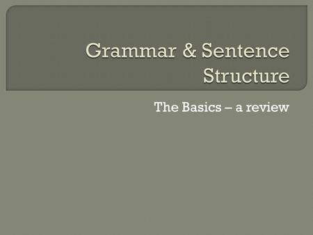 The Basics – a review.  Noun A person, place or thing; can be the subject of a sentence  Subject What or who the sentence is about  Pronoun A word.