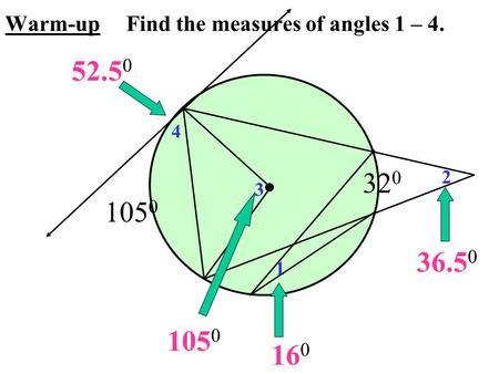 105 0 32 0 1 2 3 4 52.5 0 16 0 36.5 0 105 0 Warm-up Find the measures of angles 1 – 4.