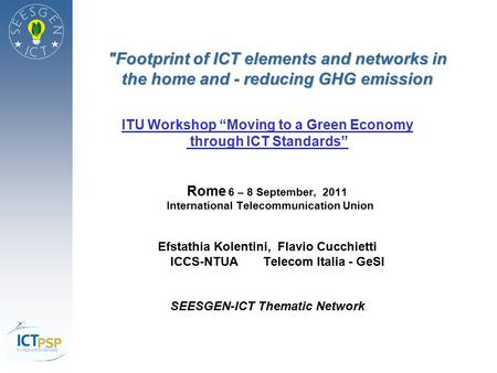 "ITU Workshop ""Moving to a Green Economy through ICT Standards"""